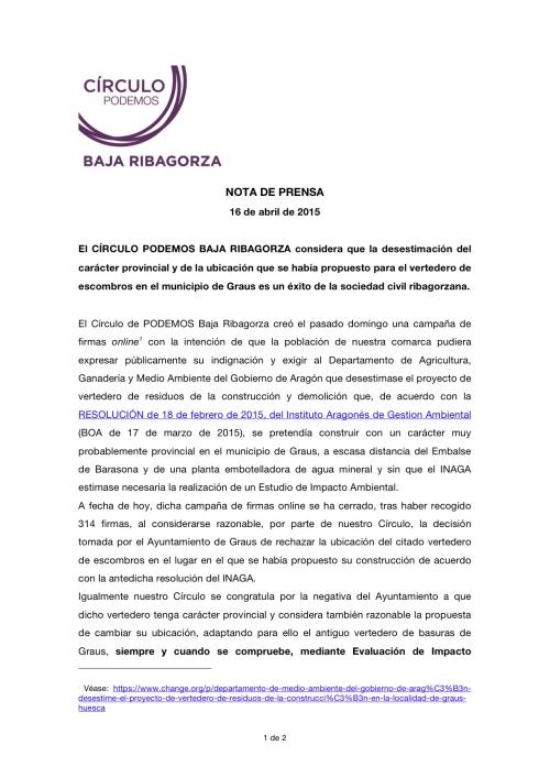 NOTA DE PRENSA PODEMOS BAJA RIBAGORZA 16-IV-15 I