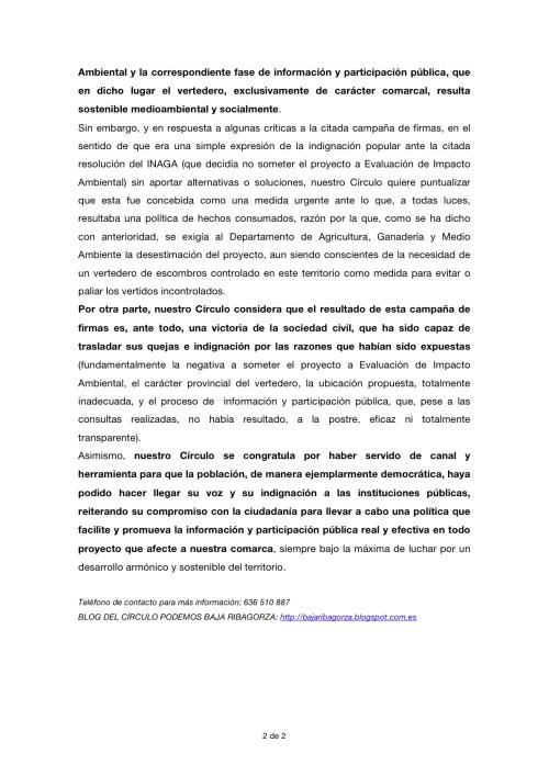 NOTA DE PRENSA PODEMOS BAJA RIBAGORZA 16-IV-15 II